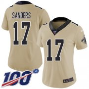 Wholesale Cheap Nike Saints #17 Emmanuel Sanders Gold Women's Stitched NFL Limited Inverted Legend 100th Season Jersey