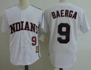 Wholesale Cheap Mitchell And Ness Indians #9 Carlos Baerga White Throwback Stitched MLB Jersey