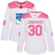 Wholesale Cheap Adidas Rangers #30 Henrik Lundqvist White/Pink Authentic Fashion Women's Stitched NHL Jersey