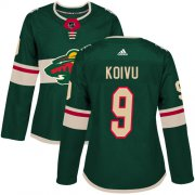 Wholesale Cheap Adidas Wild #9 Mikko Koivu Green Home Authentic Women's Stitched NHL Jersey