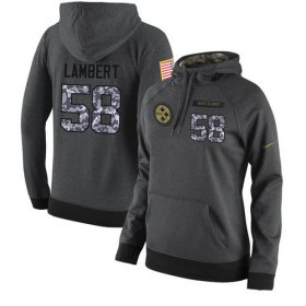 Wholesale Cheap NFL Women\'s Nike Pittsburgh Steelers #58 Jack Lambert Stitched Black Anthracite Salute to Service Player Performance Hoodie
