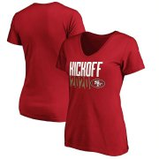 Wholesale Cheap San Francisco 49ers Fanatics Branded Women's Kickoff 2020 V-Neck T-Shirt Scarlet