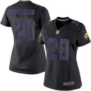 Wholesale Cheap Nike Vikings #28 Adrian Peterson Black Impact Women's Stitched NFL Limited Jersey