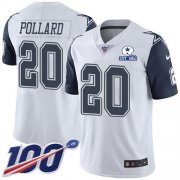 Wholesale Cheap Nike Cowboys #20 Tony Pollard White Men's Stitched With Established In 1960 Patch NFL Limited Rush 100th Season Jersey