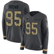 Wholesale Cheap Nike Panthers #95 Derrick Brown Anthracite Salute to Service Women's Stitched NFL Limited Therma Long Sleeve Jersey