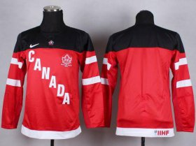 Wholesale Cheap Team Canada Blank Red 100th Anniversary Stitched Youth NHL Jersey