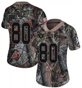 Wholesale Cheap Nike Raiders #80 Jerry Rice Camo Women\'s Stitched NFL Limited Rush Realtree Jersey