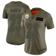 Wholesale Cheap Nike Steelers #23 Joe Haden Camo Women's Stitched NFL Limited 2019 Salute to Service Jersey