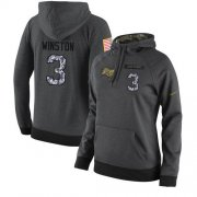 Wholesale Cheap NFL Women's Nike Tampa Bay Buccaneers #3 Jameis Winston Stitched Black Anthracite Salute to Service Player Performance Hoodie
