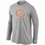 Wholesale Cheap Nike Chicago Bears Logo Long Sleeve T-Shirt Grey