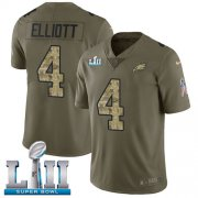 Wholesale Cheap Nike Eagles #4 Jake Elliott Olive/Camo Super Bowl LII Youth Stitched NFL Limited 2017 Salute to Service Jersey