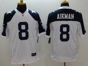 Wholesale Nike Cowboys #8 Troy Aikman White Thanksgiving Throwback Men's Stitched NFL Limited Jersey