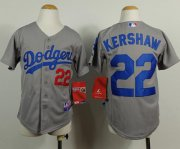 Wholesale Cheap Dodgers #22 Clayton Kershaw Grey Cool Base Stitched Youth MLB Jersey