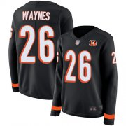 Wholesale Cheap Nike Bengals #26 Trae Waynes Black Team Color Women's Stitched NFL Limited Therma Long Sleeve Jersey