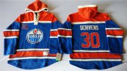 Wholesale Cheap Oilers #30 Ben Scrivens Light Blue Sawyer Hooded Sweatshirt Stitched NHL Jersey