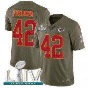 Wholesale Cheap Nike Chiefs #42 Anthony Sherman Olive Super Bowl LIV 2020 Men's Stitched NFL Limited 2017 Salute To Service Jersey