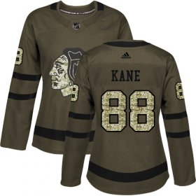 Wholesale Cheap Adidas Blackhawks #88 Patrick Kane Green Salute to Service Women\'s Stitched NHL Jersey
