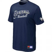 Wholesale Cheap Milwaukee Brewers Nike Short Sleeve Practice MLB T-Shirt Midnight Blue