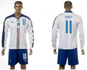 Wholesale Cheap Italy #11 Cerci White Away Long Sleeves Soccer Country Jersey