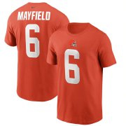Wholesale Cheap Cleveland Browns #6 Baker Mayfield Nike Team Player Name & Number T-Shirt Orange
