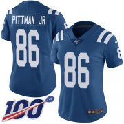 Wholesale Cheap Nike Colts #86 Michael Pittman Jr. Royal Blue Team Color Women's Stitched NFL 100th Season Vapor Untouchable Limited Jersey