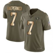 Wholesale Cheap Nike 49ers #7 Colin Kaepernick Olive/Gold Youth Stitched NFL Limited 2017 Salute to Service Jersey