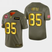 Wholesale Cheap Nike 49ers #85 George Kittle Men's Olive Gold 2019 Salute to Service NFL 100 Limited Jersey