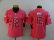 Wholesale Cheap Women's Tampa Bay Buccaneers #12 Tom Brady Pink Fashion 2017 Rush NFL Nike Limited Jersey