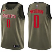 Wholesale Cheap Nike Rockets #0 Russell Westbrook Green Salute to Service NBA Swingman Jersey