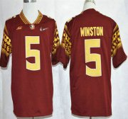 Wholesale Cheap Florida State Seminoles #5 Jameis Winston 2015 Playoff Rose Bowl Special Event Diamond Quest Red Jersey