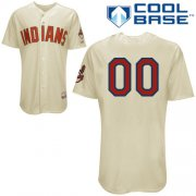 Wholesale Cheap Indians Personalized Authentic Cream MLB Jersey (S-3XL)