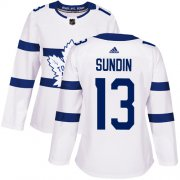 Wholesale Cheap Adidas Maple Leafs #13 Mats Sundin White Authentic 2018 Stadium Series Women's Stitched NHL Jersey