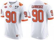 Wholesale Cheap Men's Clemson Tigers #90 Dexter Lawrence White 2017 Championship Game Patch Stitched CFP Nike Limited Jersey