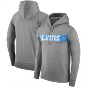 Wholesale Cheap Men's Detroit Lions Nike Gray Sideline Team Performance Pullover Hoodie