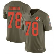 Wholesale Cheap Nike Browns #78 Jack Conklin Olive Youth Stitched NFL Limited 2017 Salute To Service Jersey