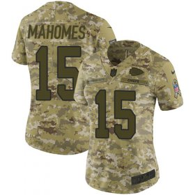 Wholesale Cheap Nike Chiefs #15 Patrick Mahomes Camo Women\'s Stitched NFL Limited 2018 Salute to Service Jersey