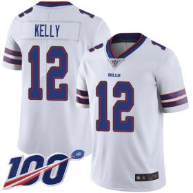 Wholesale Cheap Nike Bills #12 Jim Kelly White Men\'s Stitched NFL 100th Season Vapor Limited Jersey
