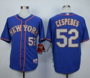 Wholesale Cheap Mets #52 Yoenis Cespedes Blue(Grey NO.) Alternate Road Cool Base Stitched MLB Jersey