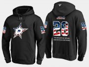Wholesale Cheap Stars #28 Stephen Johns NHL Banner Wave Usa Flag Black Hoodie