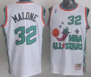 Wholesale Cheap NBA 1996 All-Star #32 Karl Malone White Swingman Throwback Jersey