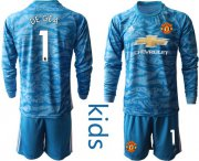 Wholesale Cheap Manchester United #1 De Gea Light Blue Goalkeeper Long Sleeves Kid Soccer Club Jersey