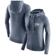 Wholesale Cheap Seattle Seahawks Nike Women's Gym Vintage Full-Zip Hoodie College Navy