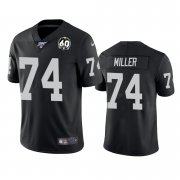 Wholesale Cheap Nike Raiders #74 Kolton Miller Black 60th Anniversary Vapor Limited Stitched NFL 100th Season Jersey