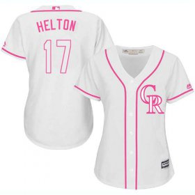 Wholesale Cheap Rockies #17 Todd Helton White/Pink Fashion Women\'s Stitched MLB Jersey