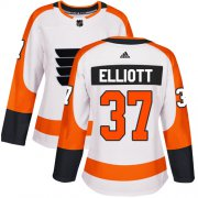 Wholesale Cheap Adidas Flyers #37 Brian Elliott White Road Authentic Women's Stitched NHL Jersey
