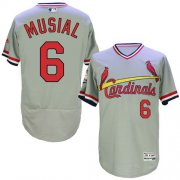 Wholesale Cardinals #6 Stan Musial Grey Flexbase Authentic Collection Cooperstown Stitched Baseball Jersey