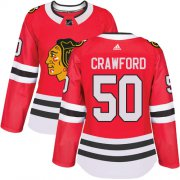 Wholesale Cheap Adidas Blackhawks #50 Corey Crawford Red Home Authentic Women's Stitched NHL Jersey