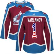 Wholesale Cheap Adidas Avalanche #1 Semyon Varlamov Burgundy Home Authentic USA Flag Women's Stitched NHL Jersey