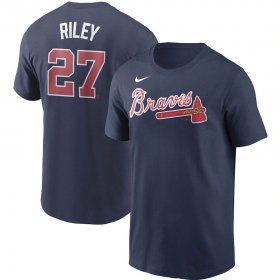Wholesale Cheap Atlanta Braves #27 Austin Riley Nike Name & Number T-Shirt Navy