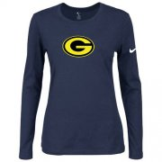 Wholesale Cheap Women's Nike Green Bay Packers Of The City Long Sleeve Tri-Blend NFL T-Shirt Dark Blue-2